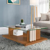 Mesa de Centro Frizz com Tampo de Vidro Naturale/Off White Madetec - Madetec -