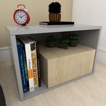 Mesa de centro moderna amadeirado claro com cinza - E-Nichos