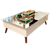 Mesa de Centro Off White com Tampo Espelhado Pinoquio -