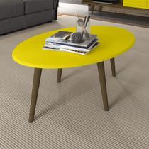 Mesa de Centro Oval Estrela Estilo Retrô Móveis Bechara Amarelo -