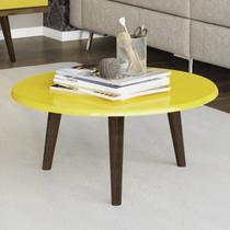 Mesa de Centro Redonda Retrô Brilhante Decor Móveis Bechara Amarelo -