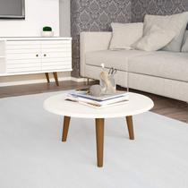 Mesa de Centro Redonda Retrô Brilhante Decor Móveis Bechara Off White -