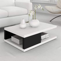 Mesa de Centro Retangular 1 Prateleira Antuérpia Siena Móveis Branco/Preto -