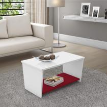 Mesa de Centro Retangular 1 Prateleira Liz Siena Móveis Branco/Vinho -