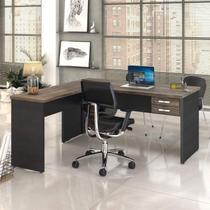 Mesa de Escritório em L 1,60x1,60m com 2 Gavetas Work30 Compace Carvalho Dark/Preto Ônix -