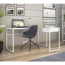 Mesa de Escritório em L Erica com 1 Gaveta - Branco - Brastubo