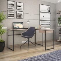 Mesa de Escritório em L Erica com 1 Gaveta - Preto/Carvalho - Brastubo