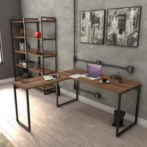 Mesa de Escritório em L Estilo Industrial 1,50mx1,50m Kuadra Compace Nogal -