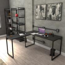 Mesa De Escritório Em L Estilo Industrial 1,50x1,50m Kuadra - Compace