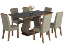 Mesa de Jantar 6 Cadeiras 6 Lugares Retangular - Tampo de Vidro Viero Móveis Valência