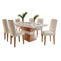 Mesa de Jantar 6 cadeiras Agatha 1,80m Rufato Cor Imbuia com Off White - Estrela Móveis