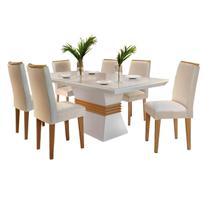 Mesa de Jantar 6 cadeiras Agatha 1,80m Rufato Cor Off White com Imbuia - Estrela Móveis