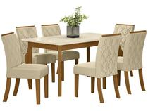 Mesa de Jantar 6 Cadeiras Retangular - Tampo de Vidro Henn Marisa