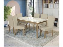 Mesa de Jantar 6 Cadeiras Retangular - Tampo de Vidro Kappesberg Montana Viero