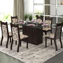 Mesa De Jantar 6 Lugares Ambar Nogueira/brownie - Viero Móveis -