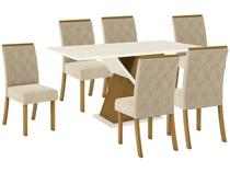 Mesa de Jantar 6 Lugares Retangular Tampo de Vidro - Henn Gabriela
