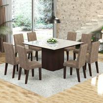 Mesa de Jantar 8 Lugares Dara Venus Ameixa/Malta/Branco - Viero Móveis