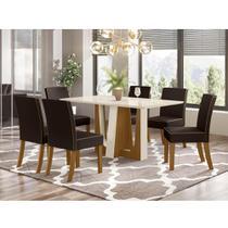 Mesa de Jantar Alfa 160cm 6 Cadeiras Maris - Nature/Off Whit - Henn
