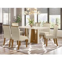 Mesa de Jantar Alfa 160cm 6 Cadeiras Tauá - Nature/Off White - Henn