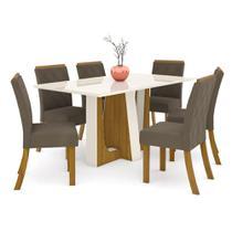 Mesa de Jantar Alfa 160cm 6 Cadeiras Vita - Nature/Off White - Henn