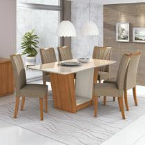 Mesa De Jantar Apogeu 6 Cadeiras Estofadas Apogeu Tampo De V - Móveis Lopas