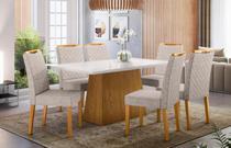 Mesa de Jantar Bárbara 1,60m com 6 cadeiras Munique Ypê/OffWhite/Bege Claro - FdECOR - New Ceval