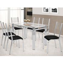 Mesa de Jantar Camila Cromado 6 Cadeiras e Tampo De Vidro - Ciplafe