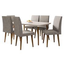 Mesa de Jantar com 6 Cadeiras Jade em Pés Palito Off White com Pena Caramelo - RV Móveis -