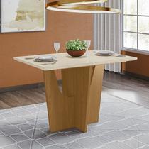 Mesa de Jantar com Tampo de Vidro 120cm Vértice Móveis Henn Nature/Off White -