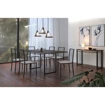 Mesa de Jantar com Tampo MDF 180cm e 6 Cadeiras Pés Metálicos Atos Mais Decor Preto/Siena/Linho Bege -