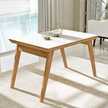 Mesa de jantar extensível com tampo de vidro branco 1.20 - Liptus