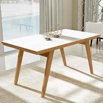 Mesa de jantar extensível com tampo de vidro branco 1.60 m - Liptus