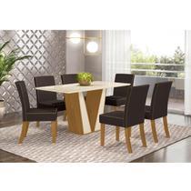 Mesa de Jantar Garda 160cm 6 Cadeiras Maris - Nature/Off Whi - Henn