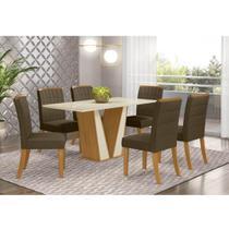 Mesa de Jantar Garda 160cm 6 Cadeiras Tauá - Nature/Off Whit - Henn