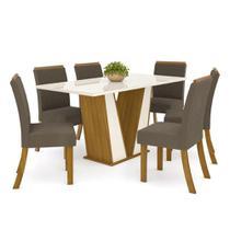 Mesa de Jantar Garda 160cm 6 Cadeiras Vega - Nature/Off Whit - Henn