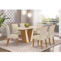 Mesa de Jantar Garda 160cm 6 Cadeiras Vita - Nature/Off Whit - Henn