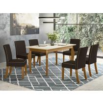 Mesa de Jantar Ghala 160cm 6 Cadeiras Maris - Nature/Off Whi - Henn