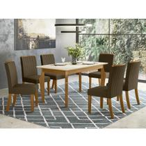 Mesa de Jantar Ghala 160cm 6 Cadeiras Tauá - Nature/Off Whit - Henn
