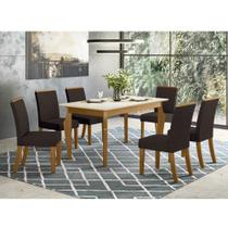 Mesa de Jantar Ghala 160cm 6 Cadeiras Vega - Nature/Off Whit - Henn