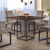 Mesa de Jantar Hera 90cm e 4 Cadeiras Estofadas Apolo Mais Decor Veludo Bege Caramelo/Preto/Mocaccino -