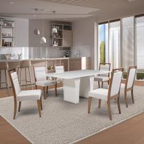 Mesa de Jantar Herval Denver com 6 cadeiras, 180 x 100 cm, Off White -