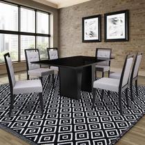 Mesa de Jantar Herval Denver com 6 cadeiras, 180 x 100 cm, Preta -