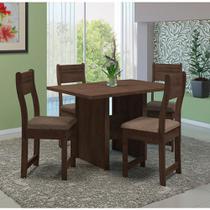 Mesa de Jantar Indekes Ebano 1,10 Noce 4 Cadeiras Bege -