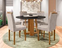 Mesa de Jantar Isabela 1,35m com 6 cadeiras Isabela e Tampo Giratório Ypê/Preto/OffWhite/Animalle Bege - FdECOR - New Ceval