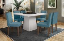 Mesa de Jantar Jasmin 1,35m com 6 cadeiras Amanda e Tampo Giratório OffWhite/Nero/Castanho/Pena Azul Claro - FdECOR - New Ceval