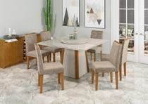 Mesa de Jantar Júlia 1,35m com 6 cadeiras Amanda e Tampo Giratório Ypê/Off/OffWhite/Animalle Marrom Claro - FdECOR - New Ceval