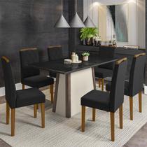 Mesa de Jantar Júlia 1,60m Com 6 Cadeiras Isabela Castanho/Off/Preto/Ypê/Vl07 - Banana Bit - NEW CEVAL
