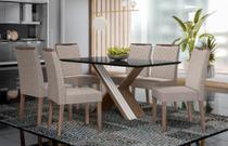 Mesa de Jantar Madrid 1,60m com 6 cadeiras Munique Castanho/Preto/Amêndoa/Bege Claro - FdECOR - New Ceval