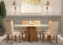 Mesa de jantar maite savana/off white com 6 cadeiras paola savana/nude cimol -