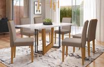 Mesa de Jantar Munique 1,60m com 6 cadeiras Ana Ypê/OffWhite/Marrom Rose - FdECOR - New Ceval